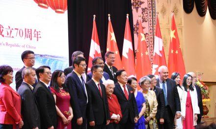"""""""祖国 我爱你!""""中国驻多伦多总领馆举行庆祝中华人民共和国成立七十周年招待会"""