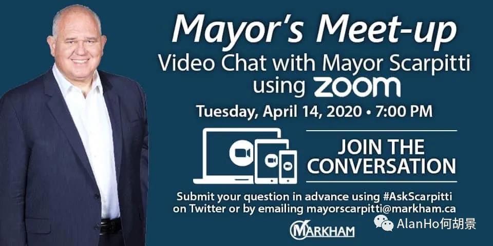 4月14日晚和万锦市市长薛家平进行Zoom视像会议